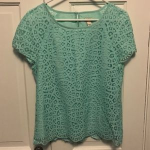 Light Teal Lace Top